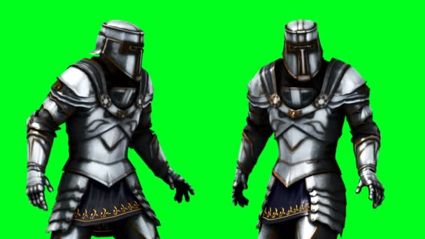 Knight animation. Phisical motion blur. Realistic green screen 4k animation. Green screen