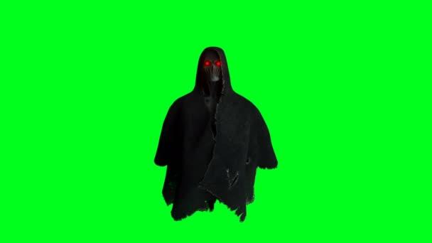 Záhada se bojí oživení ducha. dynamická mikina. Izolovat. Realistická 4k zelená animace obrazovky.