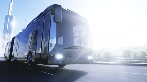 3D-s modell személyszállító busz nagyon gyors vezetés az autópályán. Futurisztikus városi háttér. 3D-s renderelés.