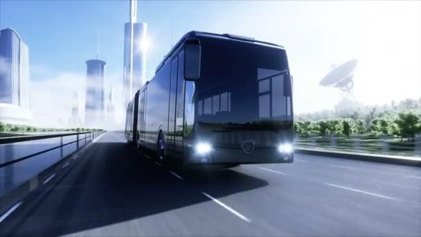 3D-Modell des Personenbusses sehr schnelles Fahren auf der Autobahn. Futuristischer Hintergrund der Stadt. 3D-Darstellung.