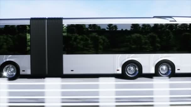 3d model of passenger bus very fast driving on the highway. Futuristic city background. 3d rendering.