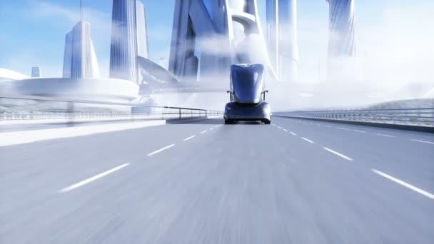 3D model generického futuristického elektrického kamionu na dálnici. Pozadí budoucího města. Elektrický automobil. Realistická 4K animace