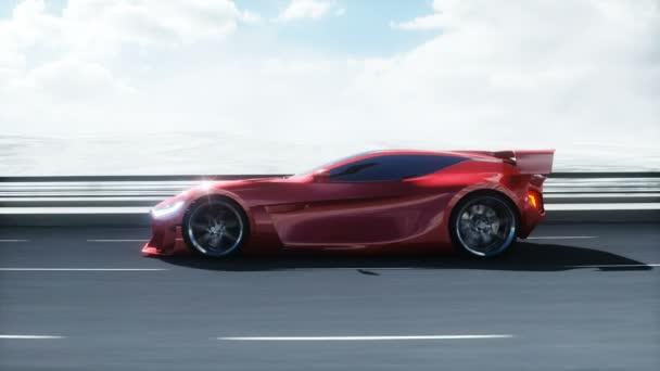3D model futuristického červeného elektromobilu na dálnici. Velmi rychlá jízda. Budoucí koncept. Realistická animace 4k.