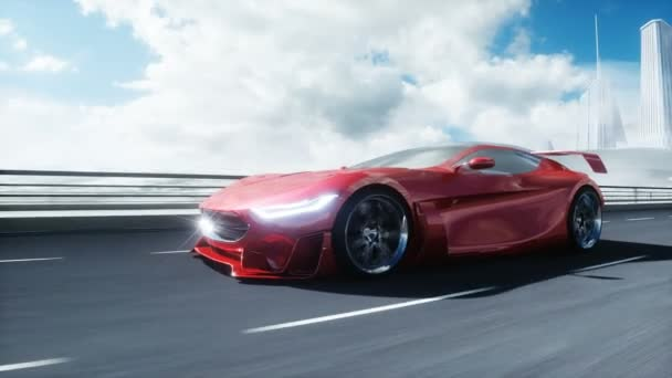 3d model of futuristic red electric car on highway. Very fast driving. Future concept. Realistic 4k animation.