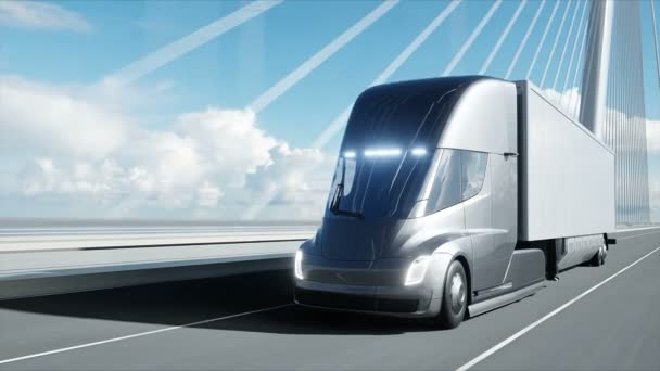 3d model of futuristic electric truck on the bridge. Electric automobile. Realistic 4k animation.