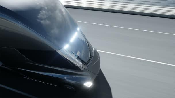 3D-Modell eines futuristischen Elektro-Lastwagens auf der Brücke. Elektroauto. Realistische 4k-Animation.