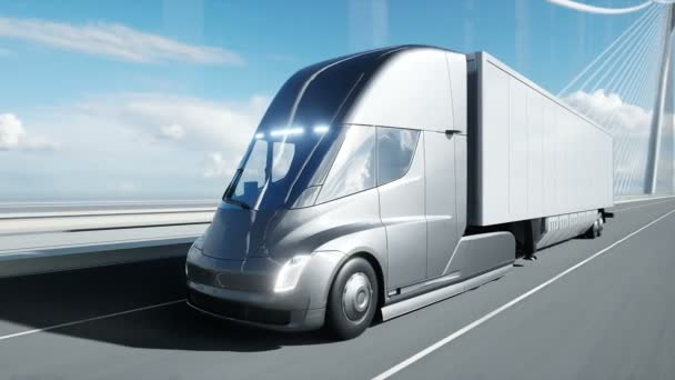 3D-s modell futurisztikus elektromos teherautó a hídon. Elektromos autó. Realisztikus 4k animáció.