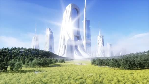 futuristic city. Future concept. Aerial view. Realistic 4k animation.