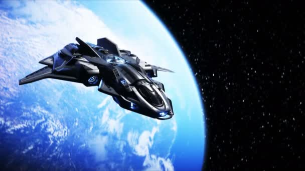 spaceship in outer space. Earth background. 3d rendering.