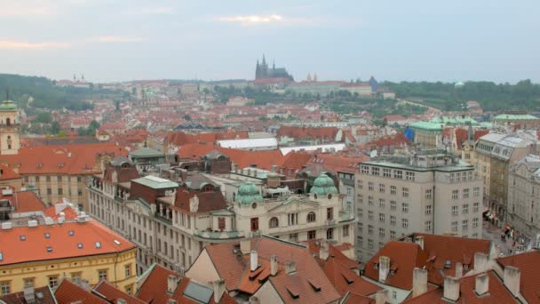 static shot of Prague city in summer from top