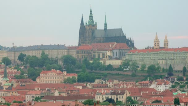 view of Prague castle from city in summer day
