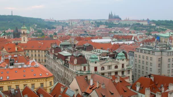 amazing top panorama of Prague, traditional red roofs and building