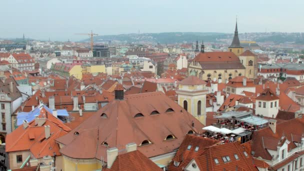 top panorama of Prague old city with picturesque red roofs