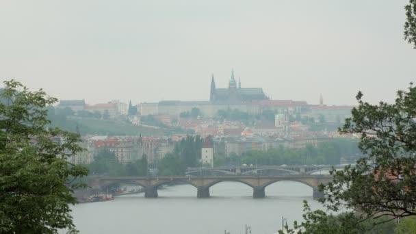 amazing view on Prague in spring time, bridges over Vltava river, old castle