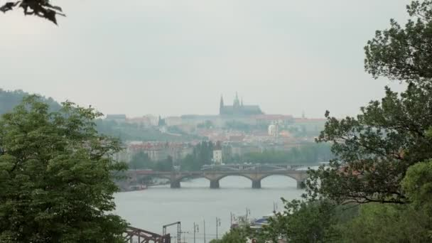 krásný výhled na pražské město, řeku Vltavu a mosty, větve stromů se v bocích