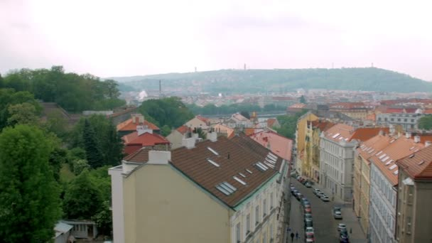 horizontal panorama of red roofs of old building in ancient areas of Prague