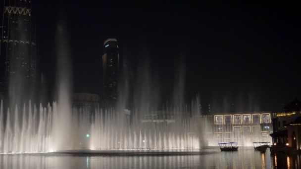 DUBAI, U.A.E. - JAN, 2018: amazing show of dancing fountains in night time near Dubai Mall building