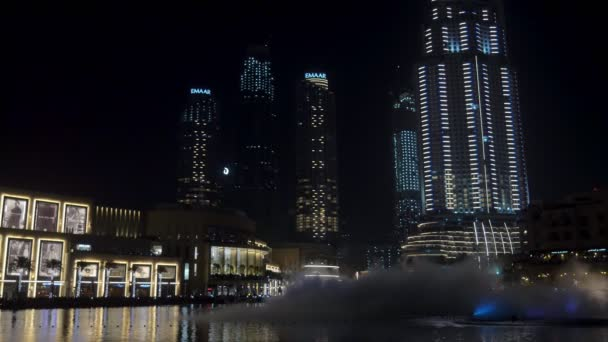 DUBAI, U.A.E. - JAN, 2018: amazing show of large fountains in night time, water jets are flying up