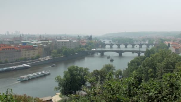 amazing top panorama on Prague city, old traditional and modern architecture
