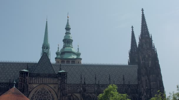 amazing architecture of old gothic building of Saint Vitus Cathedral, side view