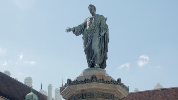 statues of ancient ruler is wearing toga, amazing majestic monument in Vienna, Austria, tilt up