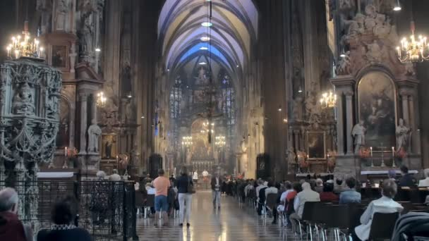 Vienna, Austria - MAY, 2018: city dwellers are worshipping in St Stephen Cathedral