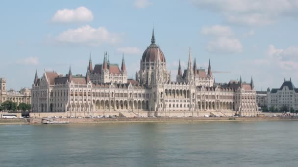 amazing view on Hungarian Parliament Building, neo-gothic and beaux-arts architectural styles