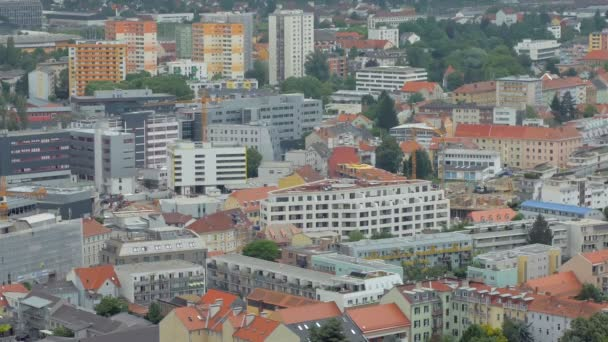 top view on modern buildings in small city and outskirts in daytime