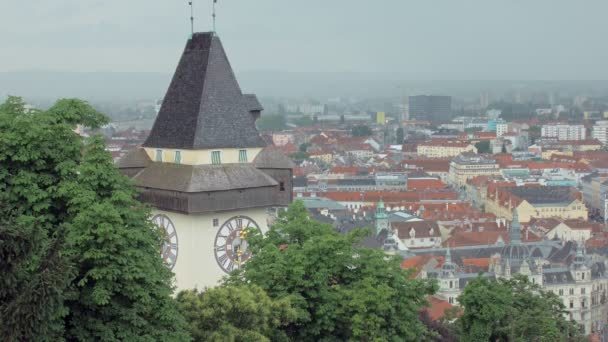 view on austrian Graz city from famous Schlossberg castle hill with the clock tower Uhrturm