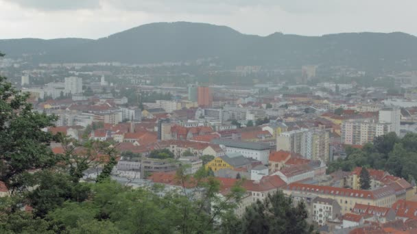 storm clouds over Graz town in Austria in rainy weather in spring time