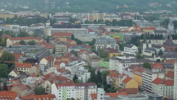 top view on small calm town in Europe, roof of living buildings
