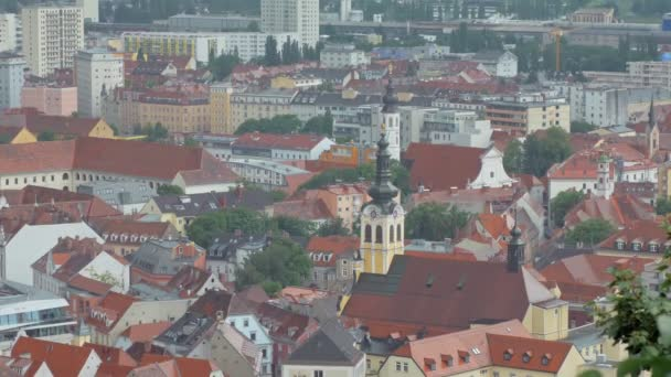 beautiful top view of cityscape with picturesque modern and traditional buildings in austrian style