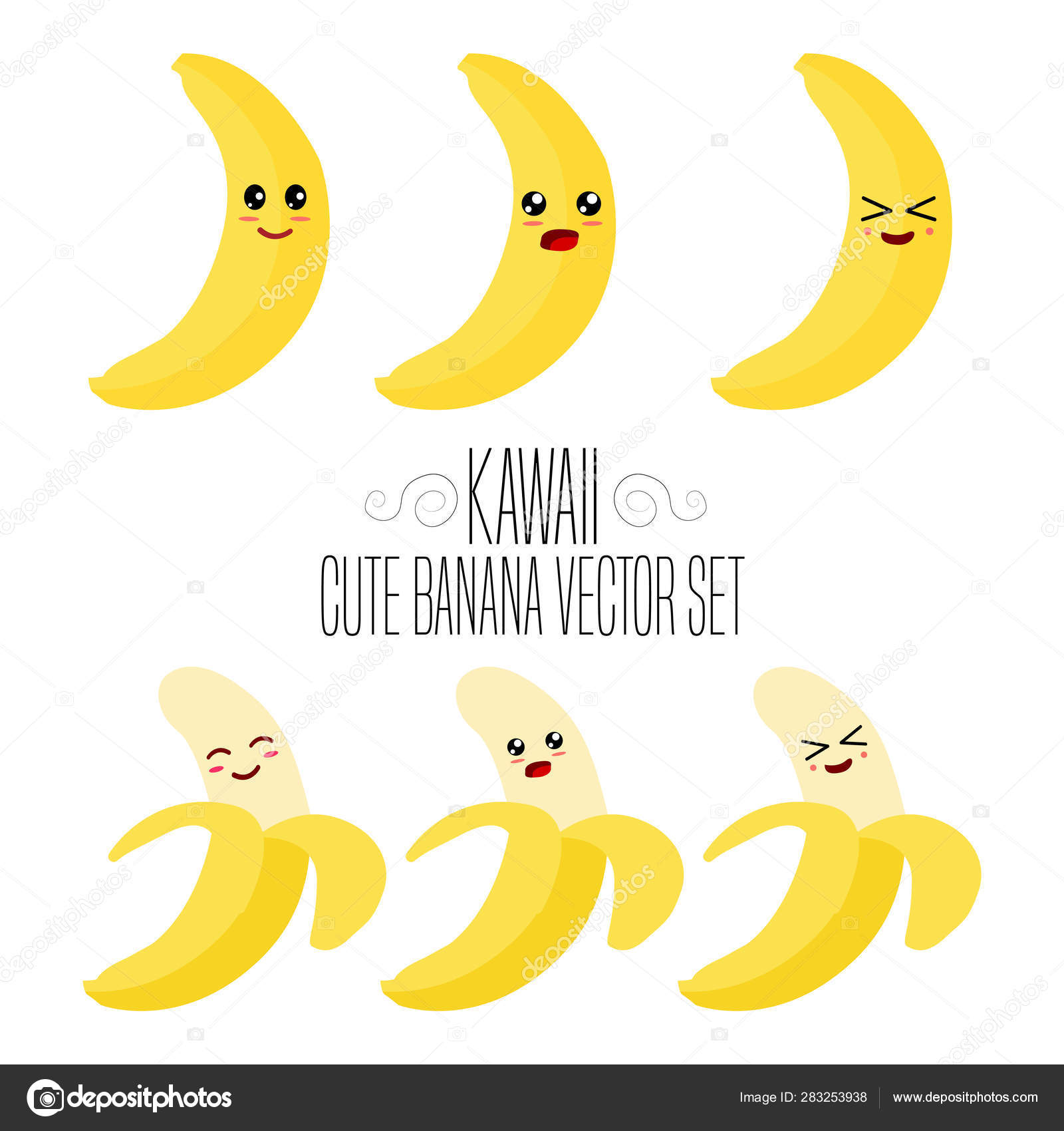 Kawaii Isolated Banana Template Cute Illustration Banana