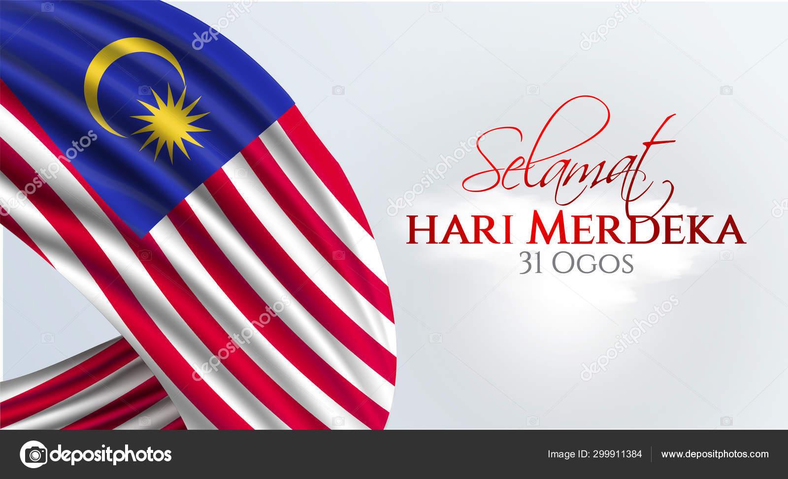 Flag Malaysia Selamat Hari Merdeka Holiday Translate Malaysia Independence Day Stock Vector C Mfbtasarim 299911384