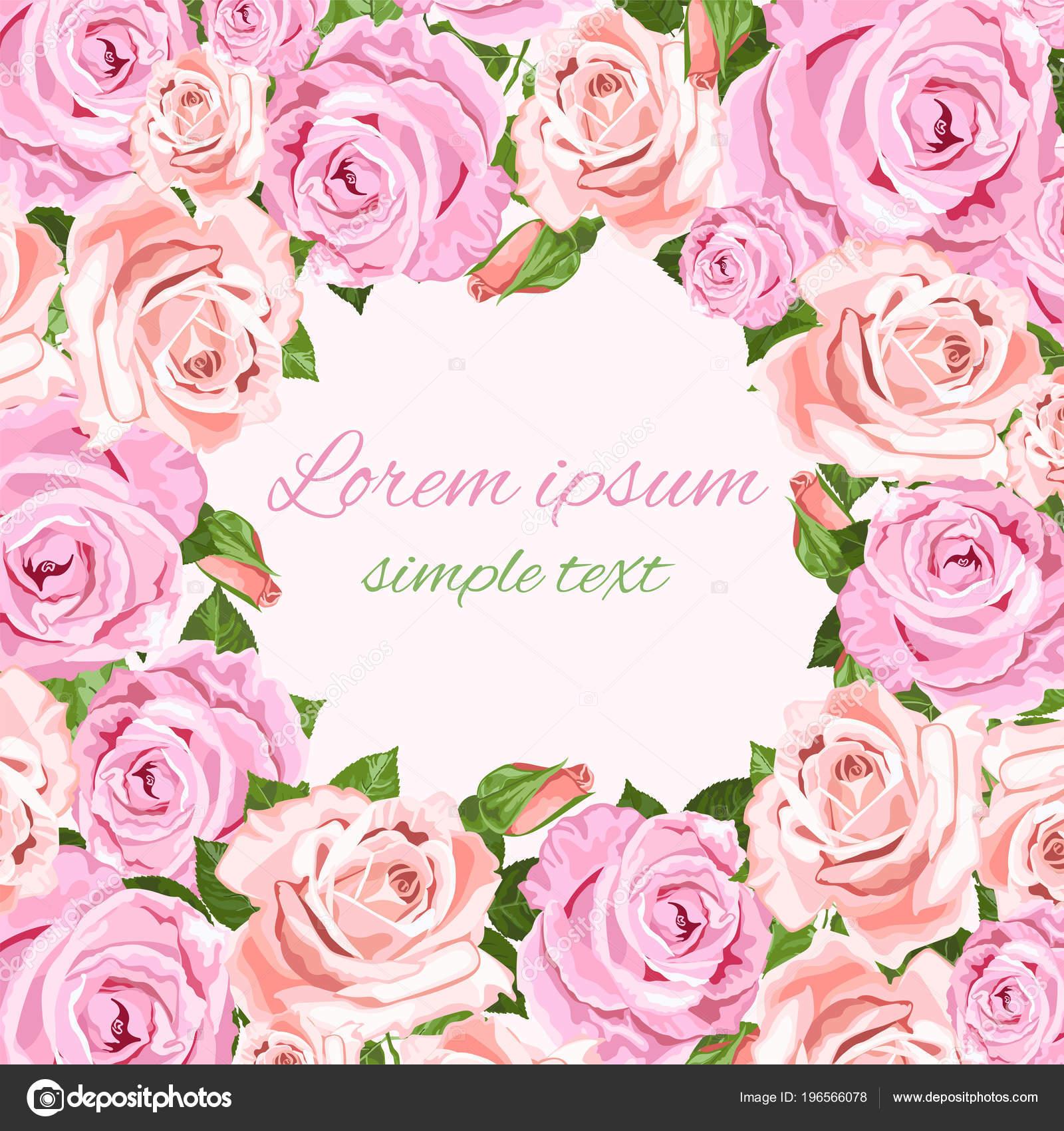 Rosas Color Rosas Beiges Vectores Invitaciones Boda Con Marco ...