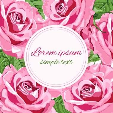 Vector wedding invitations with bright pink roses and round frame for text. Floral design for greeting card