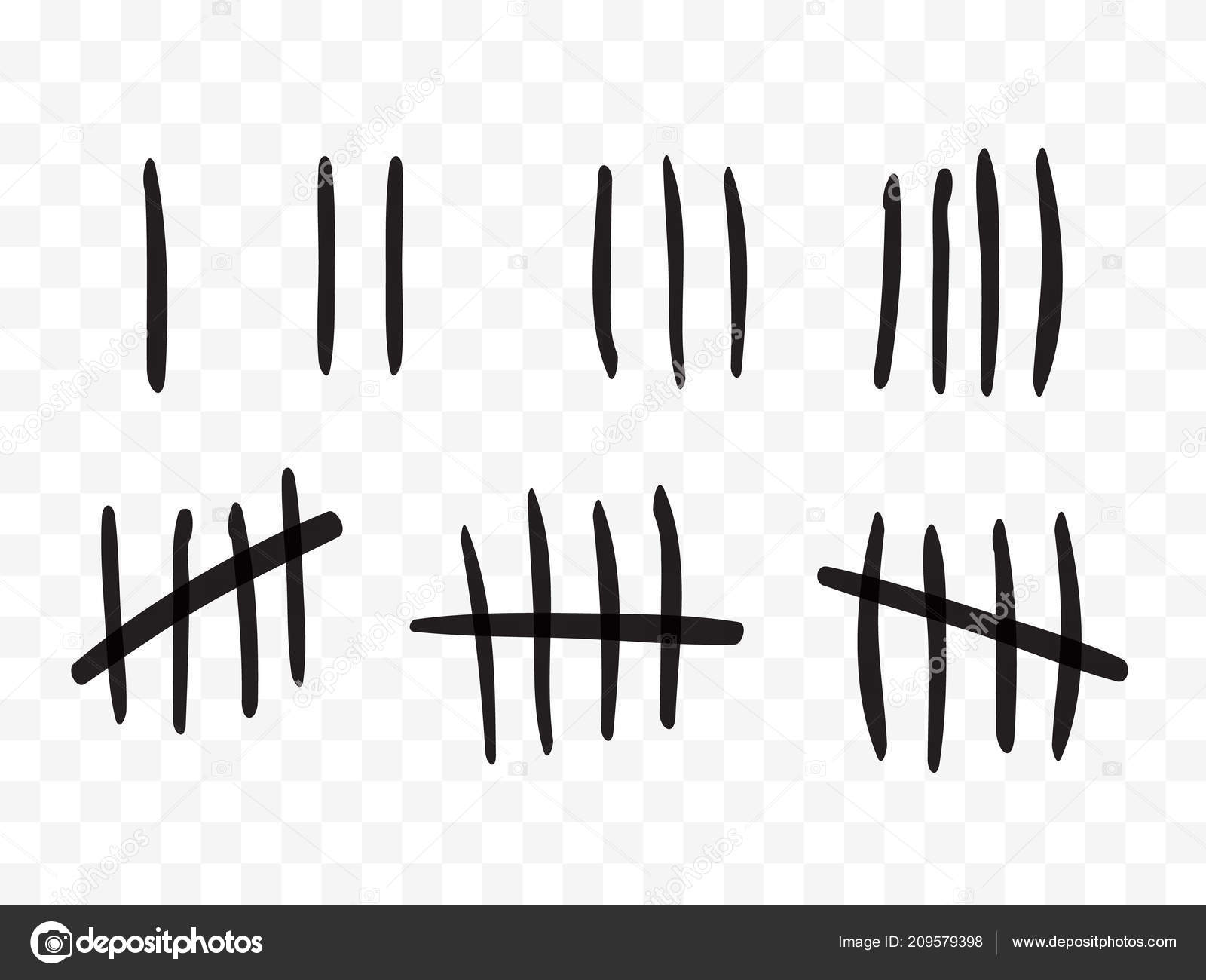 tally marks on a prison wall isolated counting signs vector
