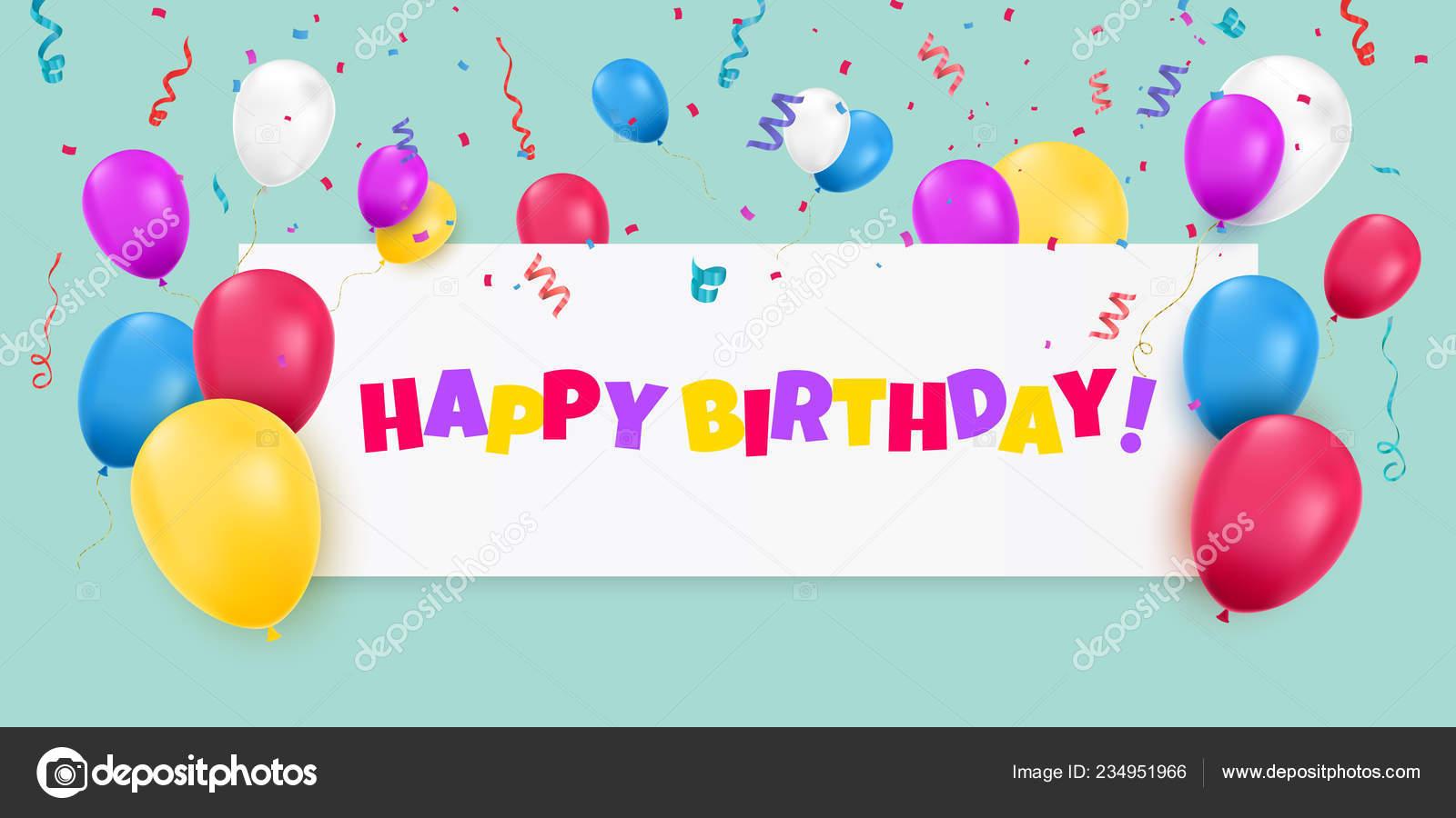 Banner Feliz Aniversario: Feliz Banner De Aniversário Com Balões De Cor E Confetes