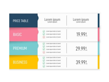Price table for websites and applications. Business template.