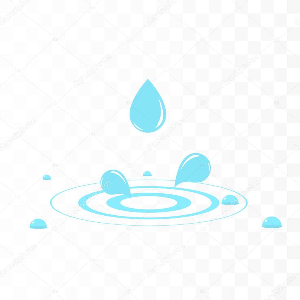 Water drop with water splash. Vector