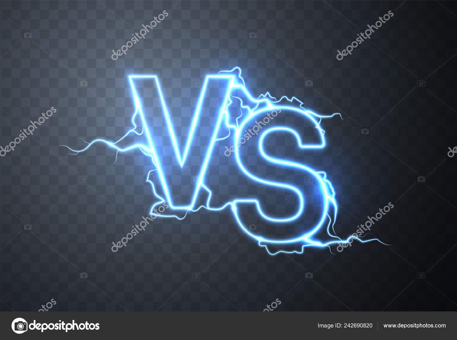 Versus Sign Vs Glow Symbol Vector Illustration Stock Vector
