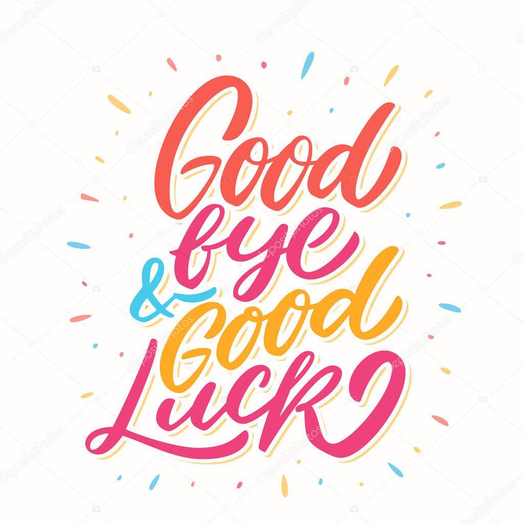 goodbye and good luck farewell card — stock vector
