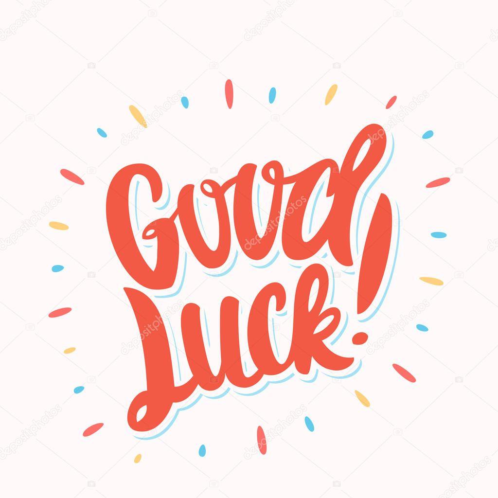 good luck farewell card vector lettering — stock vector