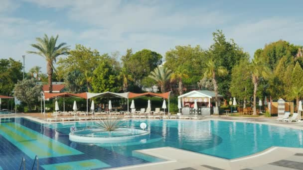 Kemer, Turkey, June 2018: Luxury hotel with swimming pool in Turkey. Loungers, a cozy cafe - all for a comfortable stay