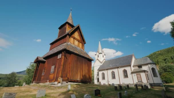 Ancient wooden church of the 13th century in the town of Torpo, Norway. An amazing old building perfectly preserved to our days