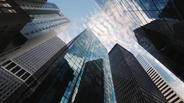 Typical skyscrapers of downtown Manhattan, lower angle shooting with rotation