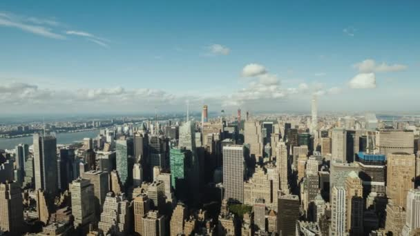 Panning Hyperlapse: Aerial view of the business district of Manhattan in New York