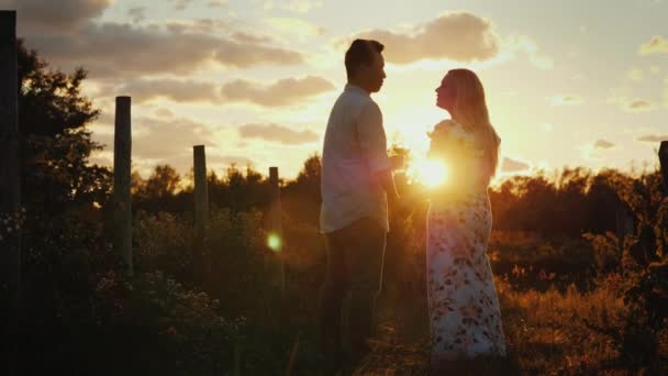 Romantic couple with glasses of wine at sunset. They look at each other, stand against the background of the vineyard. Honeymoon concept