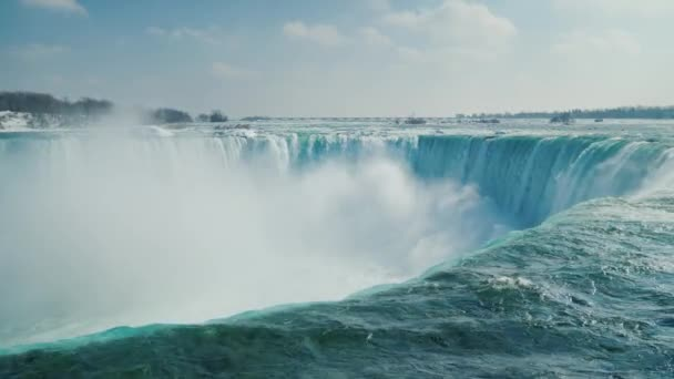 Horseshoe shaped waterfall in the Niagara Falls series. Winter season