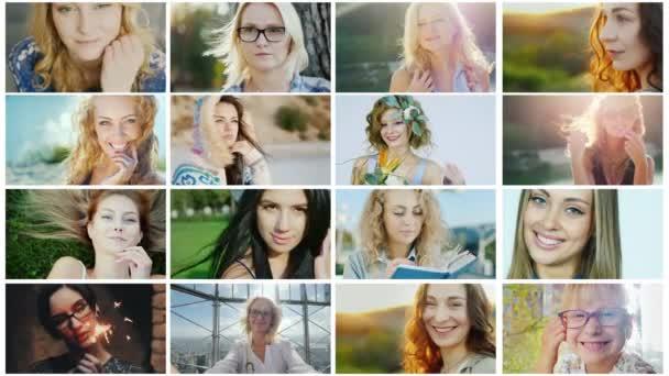 Ritratti di donne felici e di successo, un collage di video